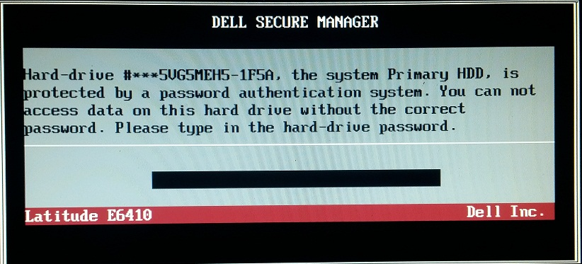dell hdd password